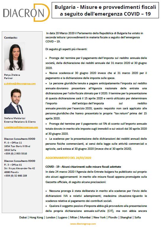 BULGARIA - Provvedimenti Fiscali Emergenza Covid-19