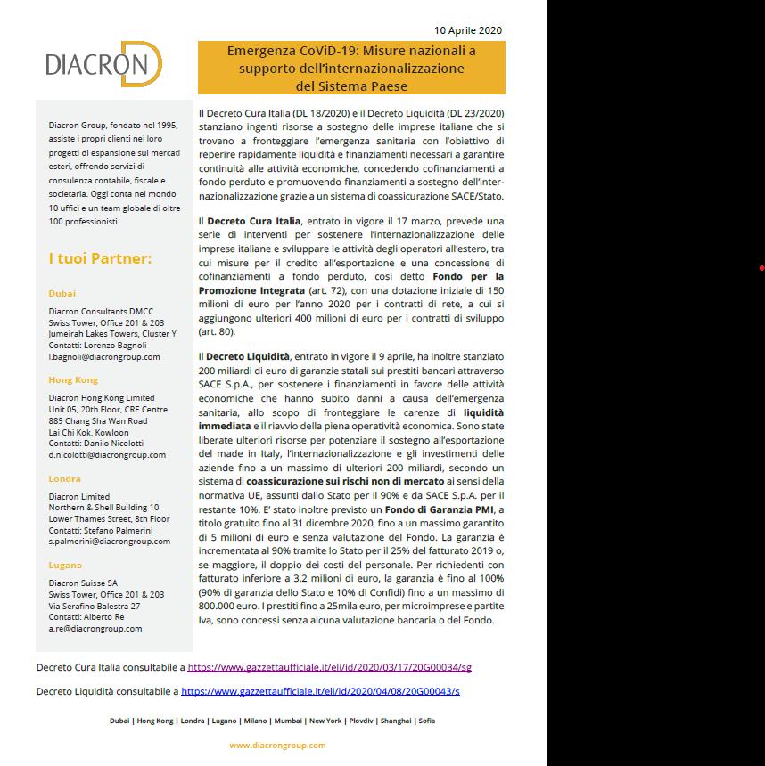 Emergenza CoViD-19: Misure nazionali a supporto dell'internazionalizzazione del Sistema Paese