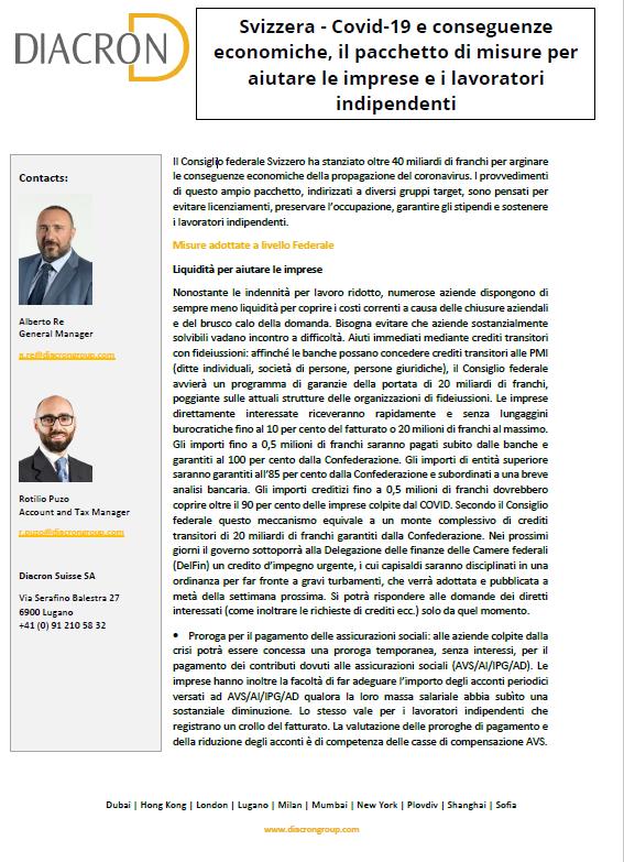 Svizzera - Covid-19 e conseguenze economiche, il pacchetto di misure per aiutare le imprese e i lavoratori indipendenti